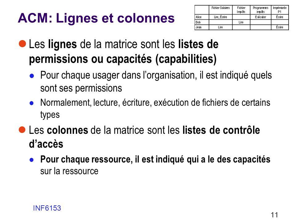 ACM: Lignes et colonnes