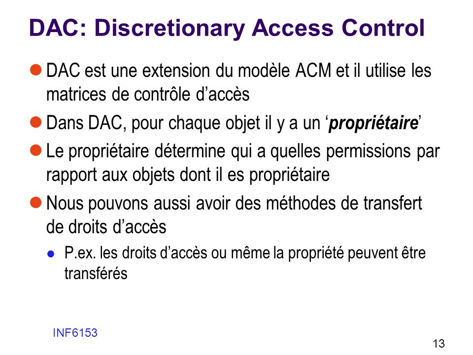 DAC: Discretionary Access Control