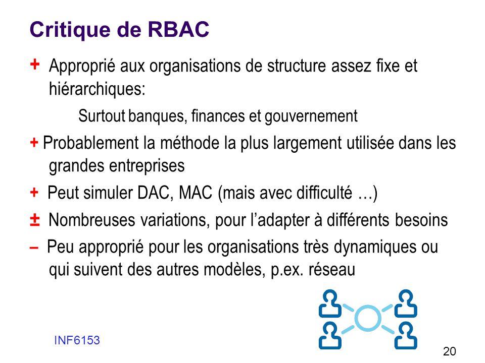 Critique de RBAC + Approprié aux organisations de structure assez fixe et hiérarchiques: Surtout banques, finances et gouvernement.