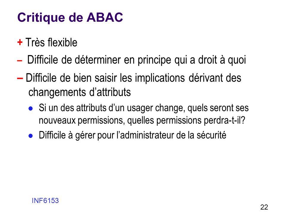 Critique de ABAC + Très flexible. – Difficile de déterminer en principe qui a droit à quoi.