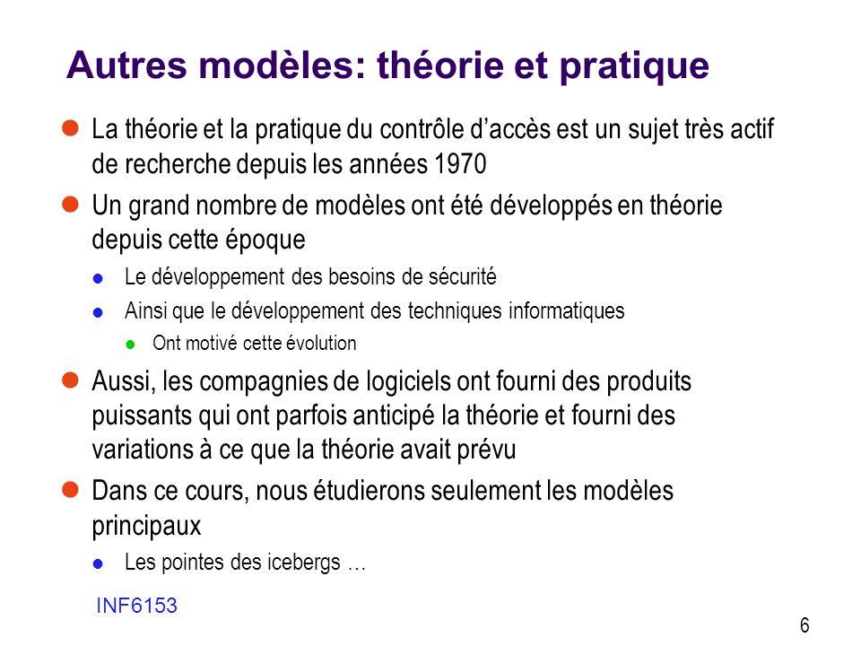 Autres modèles: théorie et pratique