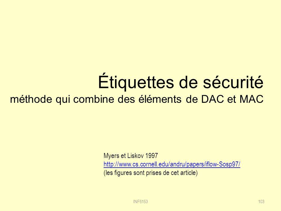 Étiquettes de sécurité méthode qui combine des éléments de DAC et MAC