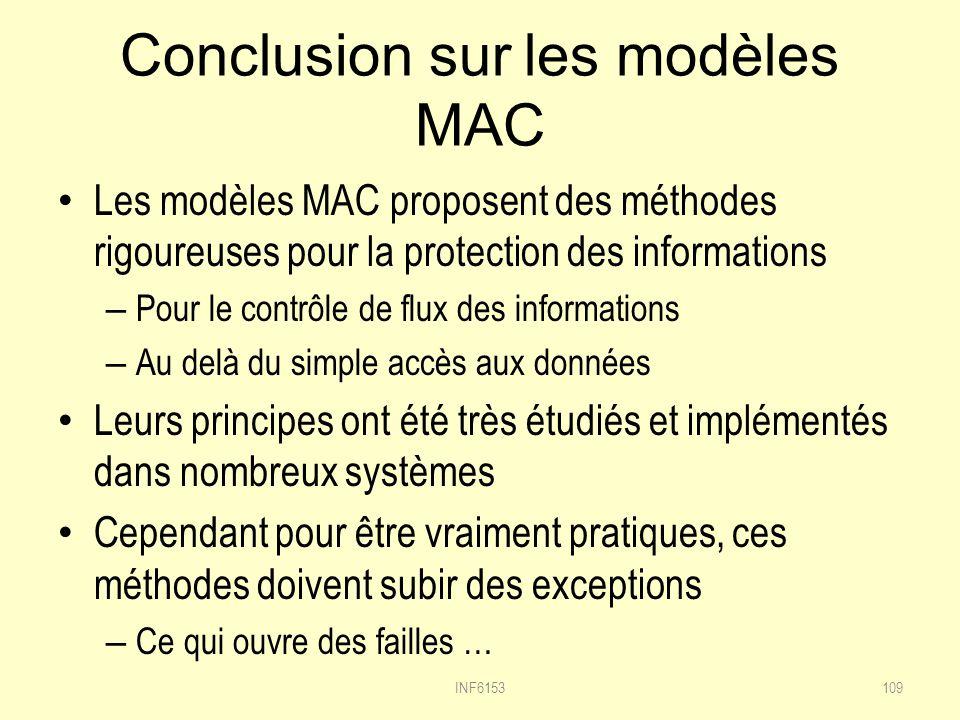 Conclusion sur les modèles MAC