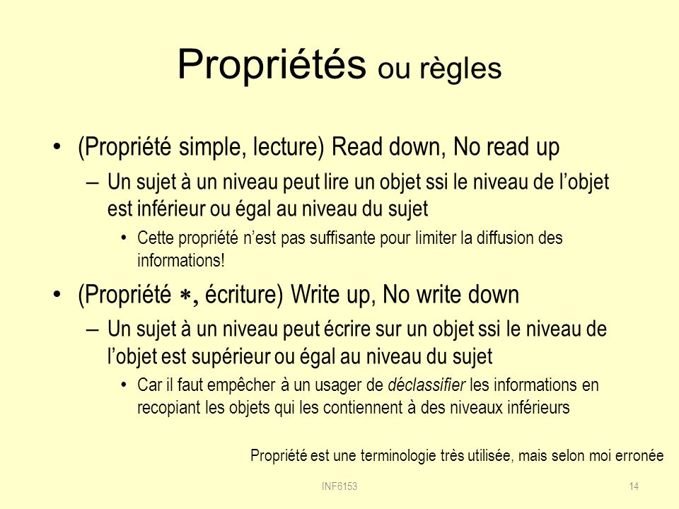 Propriétés ou règles (Propriété simple, lecture) Read down, No read up