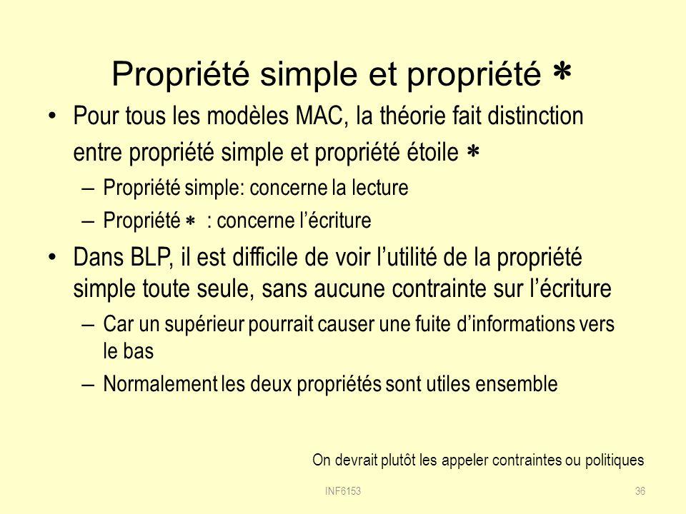 Propriété simple et propriété *