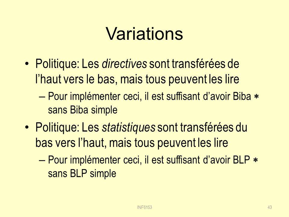 Variations Politique: Les directives sont transférées de l'haut vers le bas, mais tous peuvent les lire.