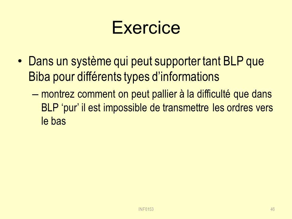 Exercice Dans un système qui peut supporter tant BLP que Biba pour différents types d'informations.
