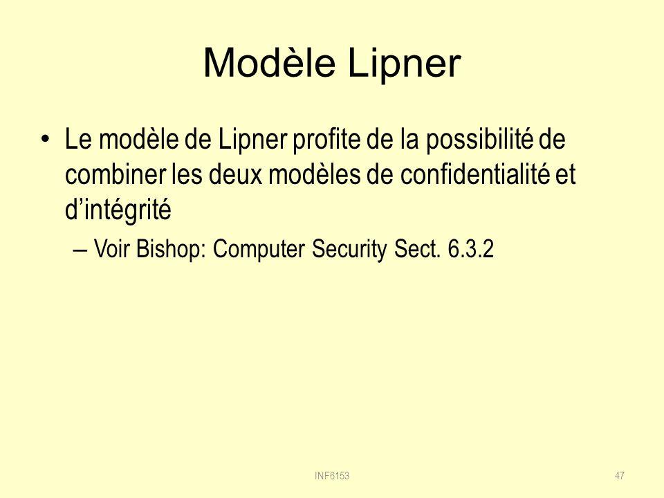 Modèle Lipner Le modèle de Lipner profite de la possibilité de combiner les deux modèles de confidentialité et d'intégrité.