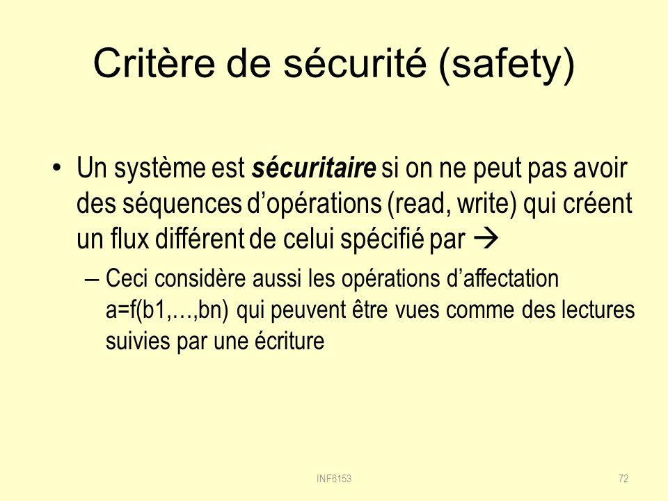 Critère de sécurité (safety)