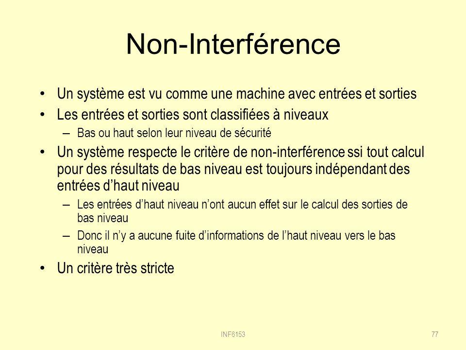 Non-Interférence Un système est vu comme une machine avec entrées et sorties. Les entrées et sorties sont classifiées à niveaux.