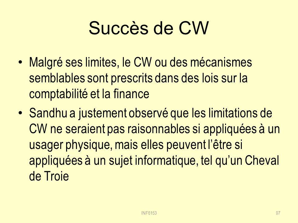 Succès de CW Malgré ses limites, le CW ou des mécanismes semblables sont prescrits dans des lois sur la comptabilité et la finance.