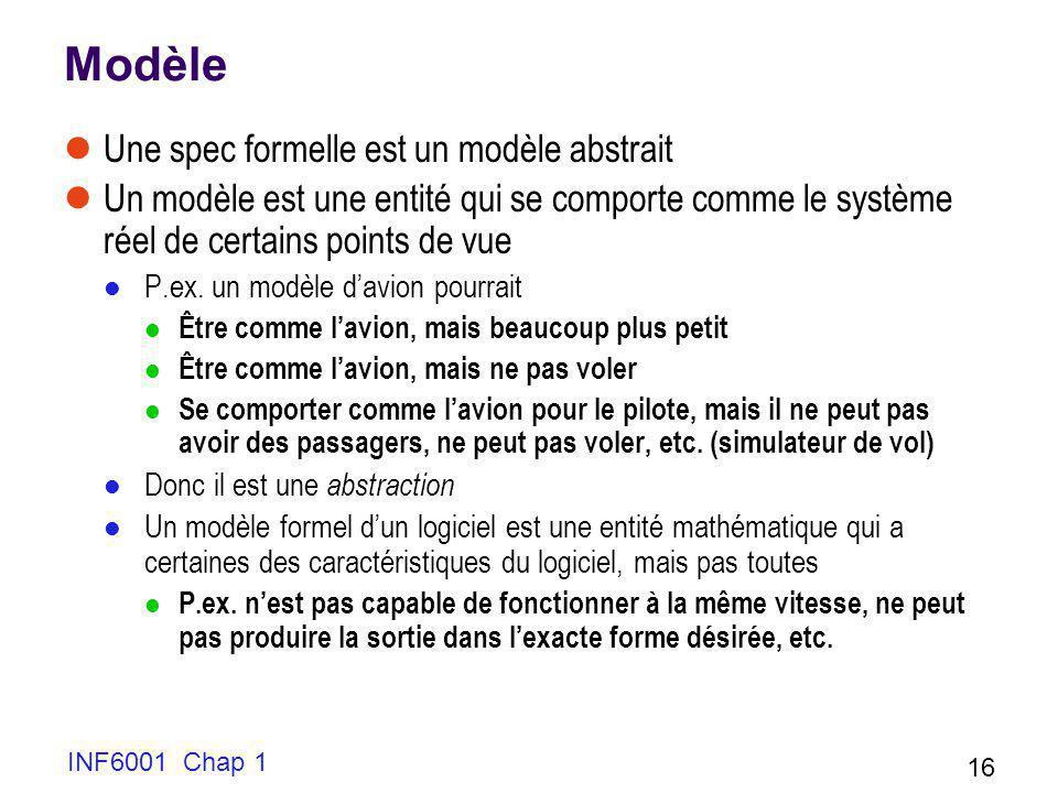 Modèle Une spec formelle est un modèle abstrait