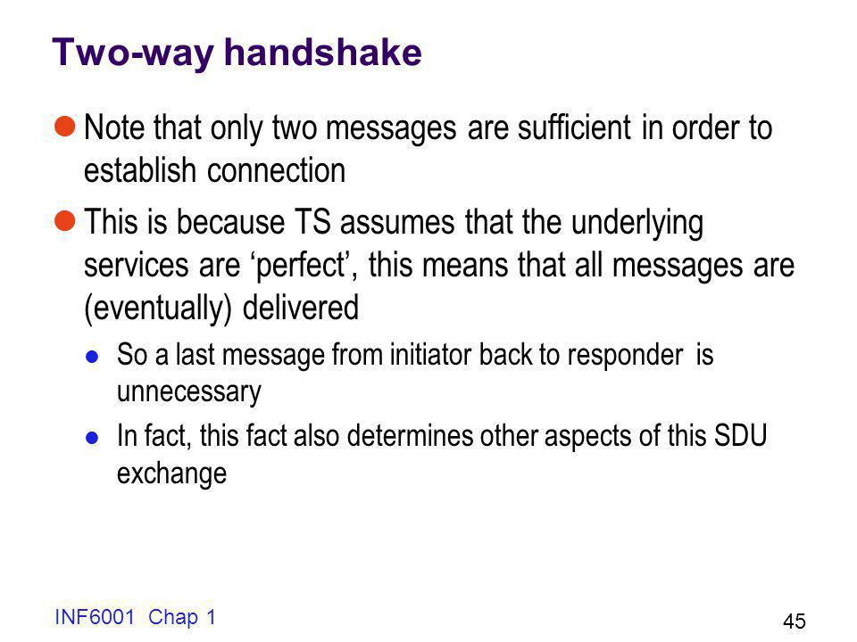 Two-way handshake Note that only two messages are sufficient in order to establish connection.
