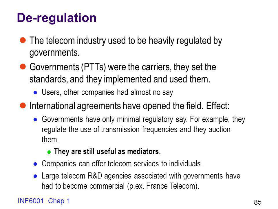 De-regulation The telecom industry used to be heavily regulated by governments.