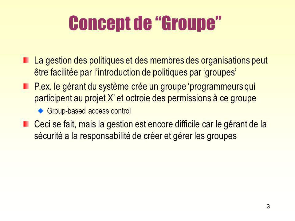 Concept de Groupe La gestion des politiques et des membres des organisations peut être facilitée par l'introduction de politiques par 'groupes'