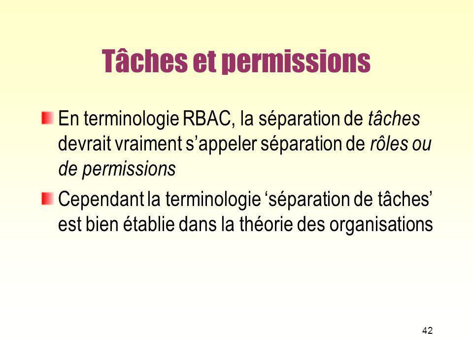 Tâches et permissions En terminologie RBAC, la séparation de tâches devrait vraiment s'appeler séparation de rôles ou de permissions.