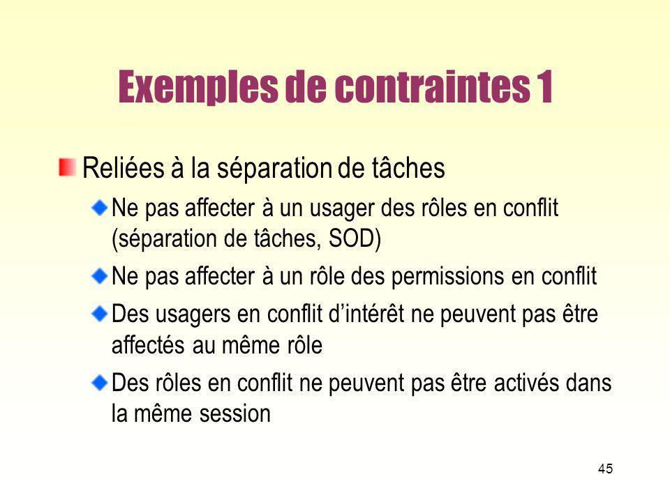 Exemples de contraintes 1