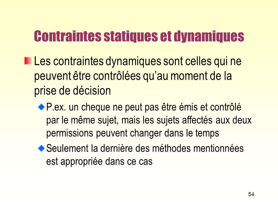 Contraintes statiques et dynamiques