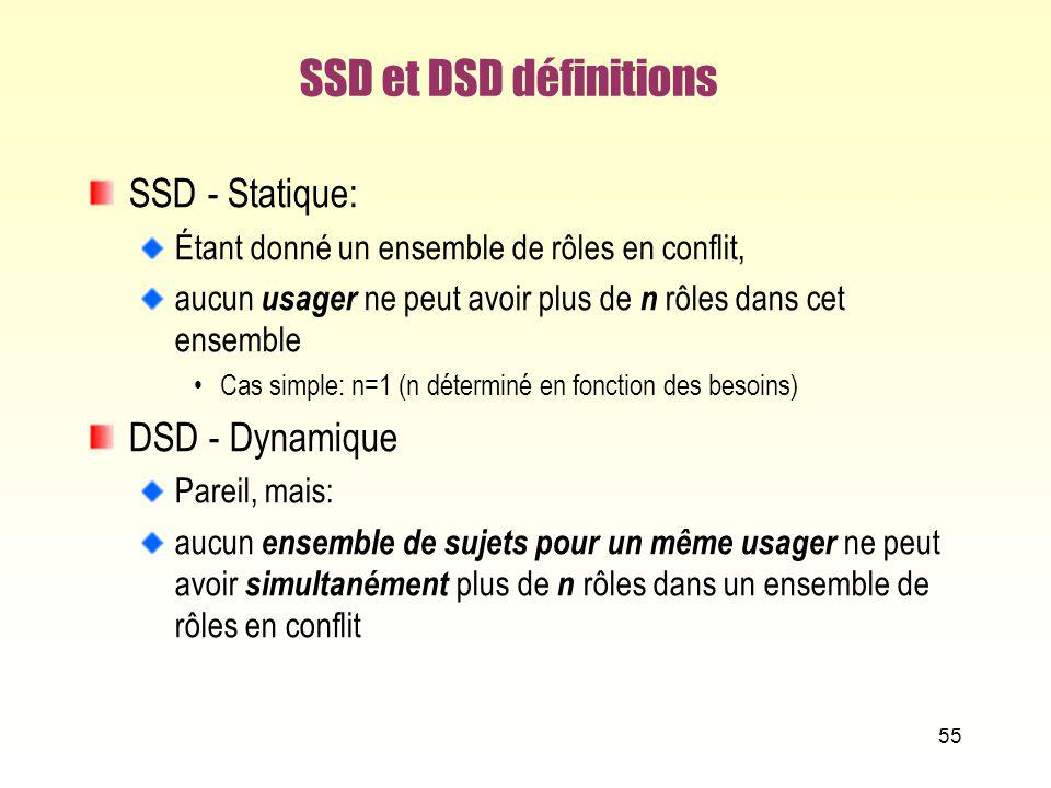SSD et DSD définitions SSD - Statique: DSD - Dynamique