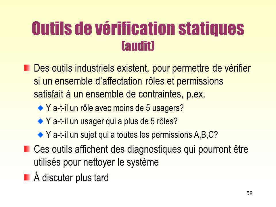 Outils de vérification statiques (audit)