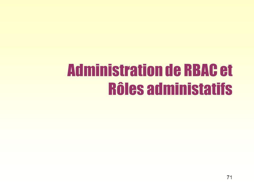Administration de RBAC et Rôles administatifs