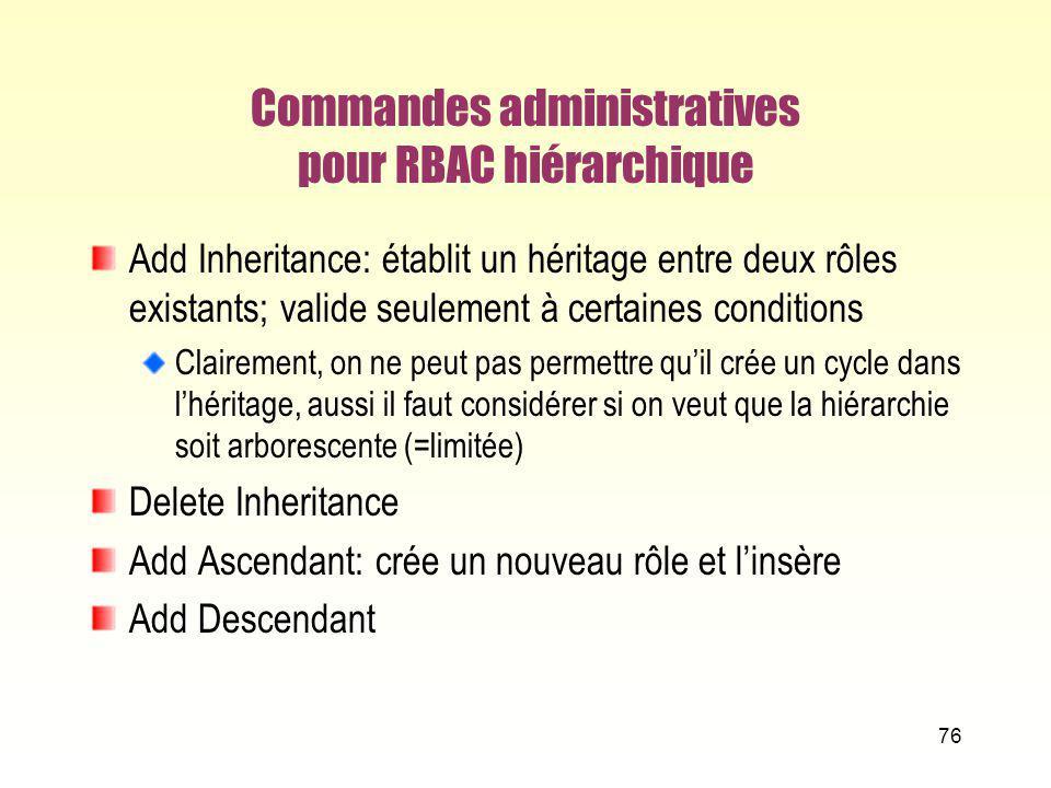 Commandes administratives pour RBAC hiérarchique