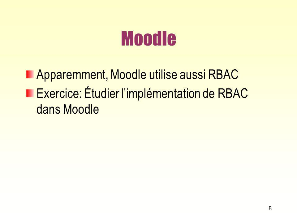 Moodle Apparemment, Moodle utilise aussi RBAC