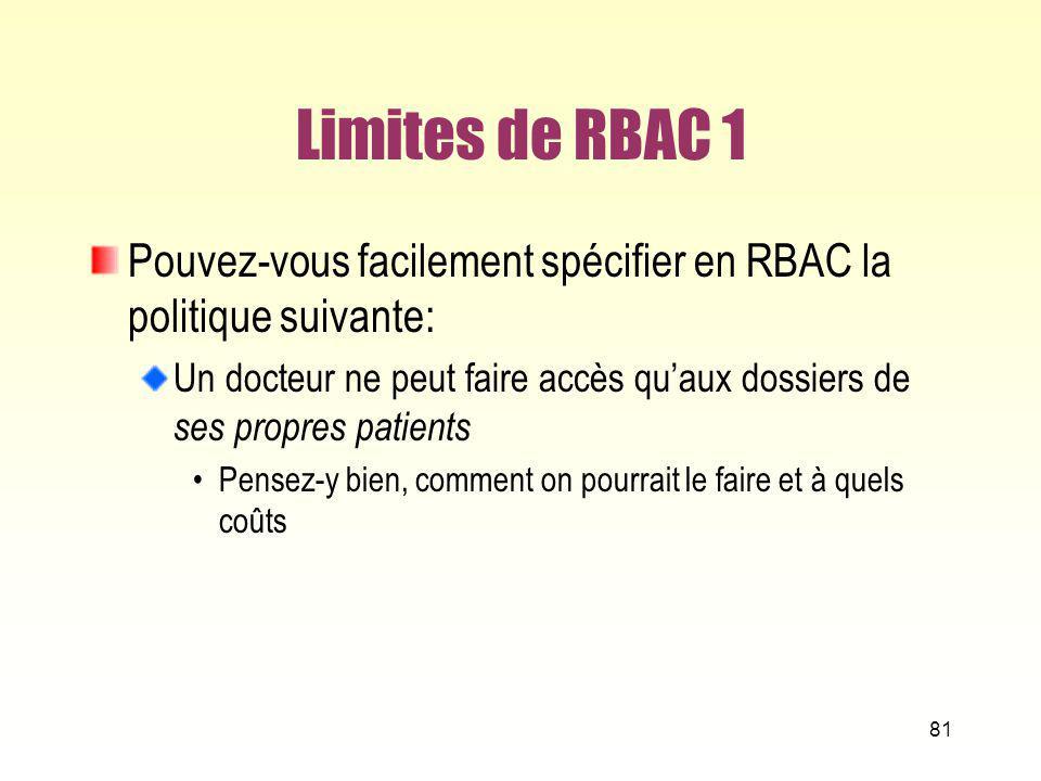 Limites de RBAC 1 Pouvez-vous facilement spécifier en RBAC la politique suivante: