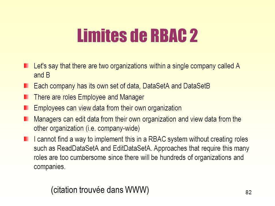 Limites de RBAC 2 (citation trouvée dans WWW)