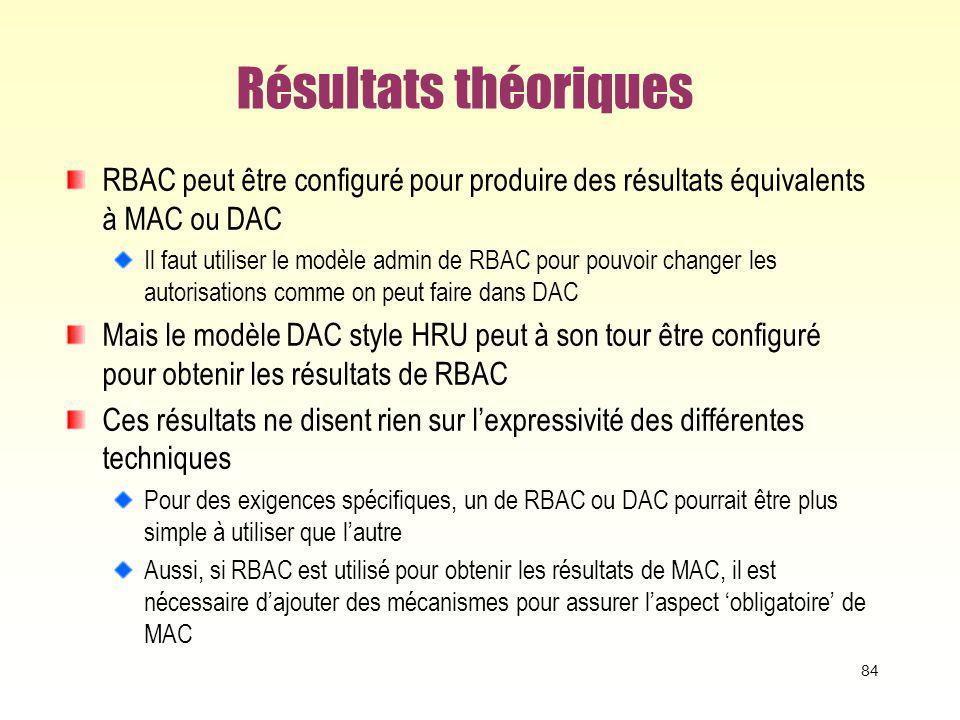 Résultats théoriques RBAC peut être configuré pour produire des résultats équivalents à MAC ou DAC.