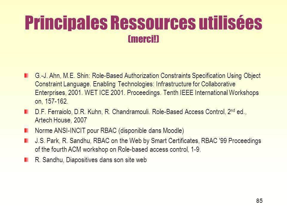 Principales Ressources utilisées (merci!)