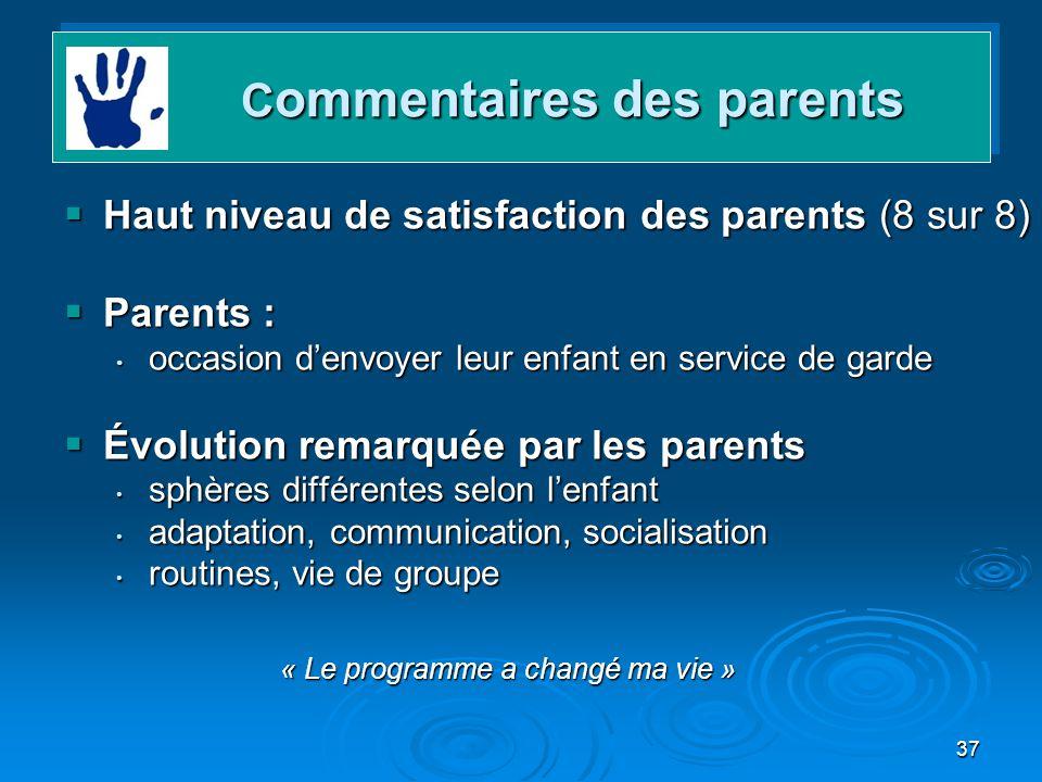 Commentaires des parents