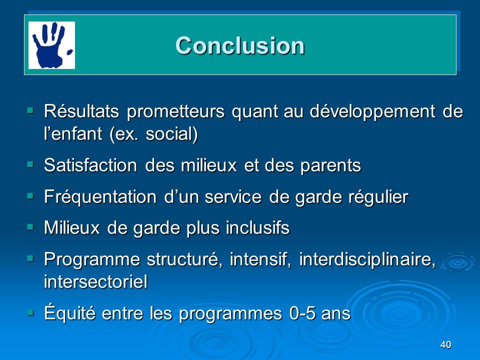 Conclusion Résultats prometteurs quant au développement de l'enfant (ex. social) Satisfaction des milieux et des parents.