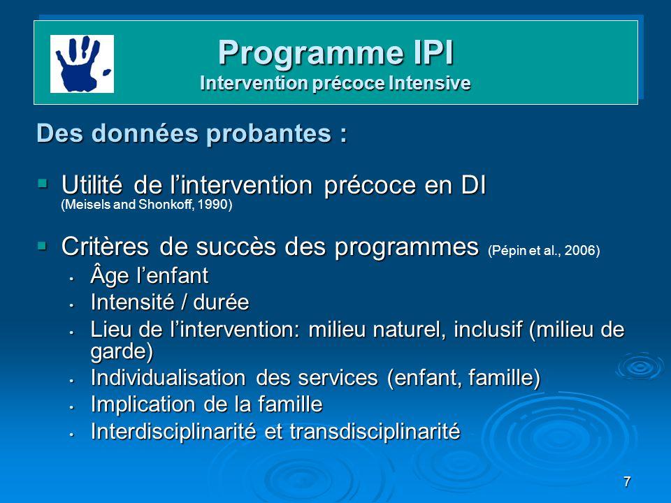 Programme IPI Intervention précoce Intensive