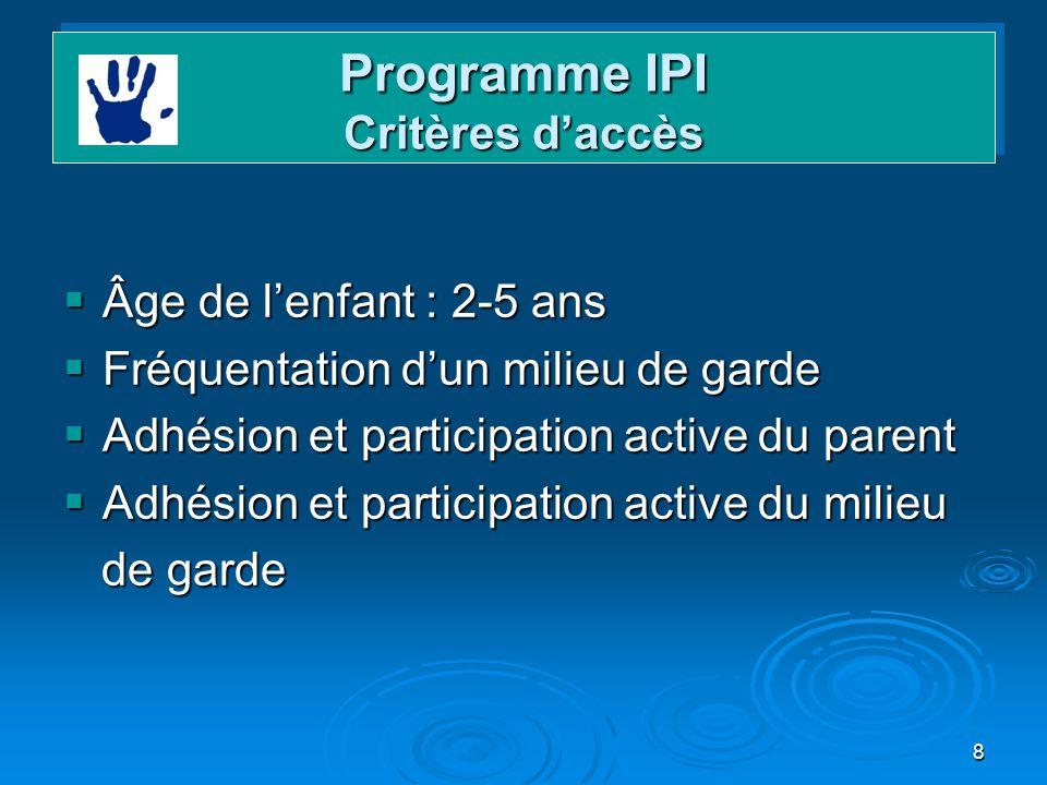 Programme IPI Critères d'accès