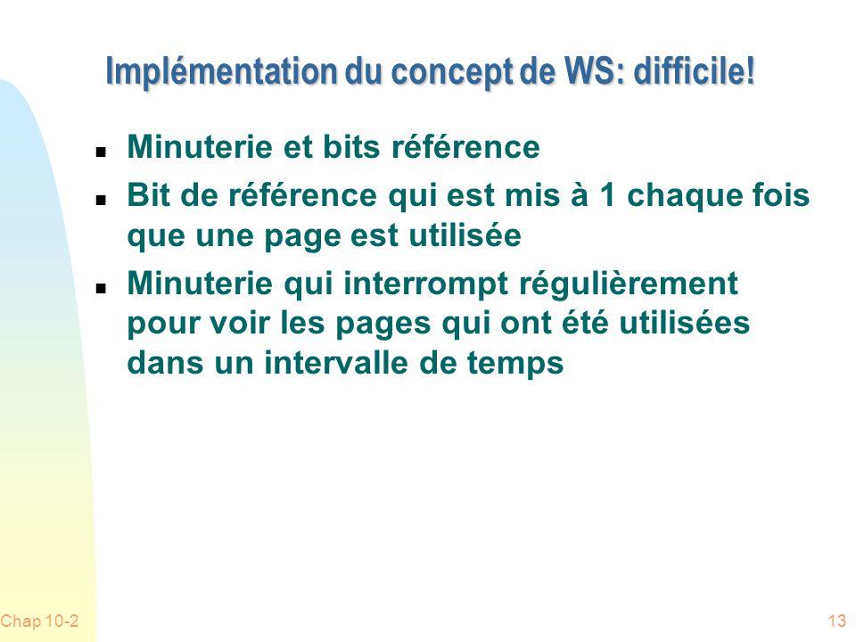 Implémentation du concept de WS: difficile!