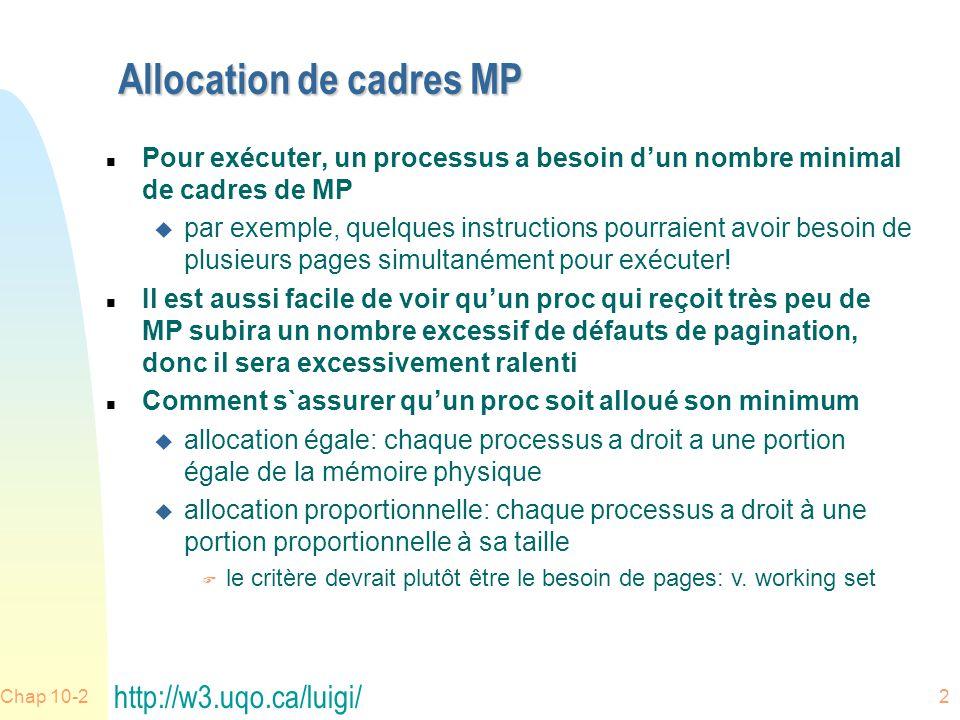 Allocation de cadres MP