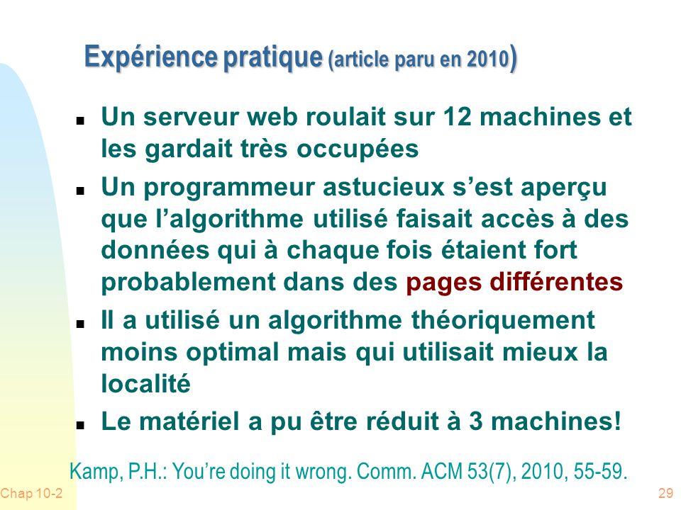 Expérience pratique (article paru en 2010)