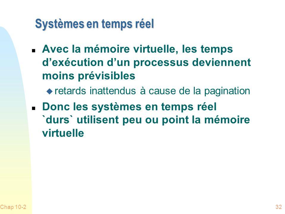 Systèmes en temps réel Avec la mémoire virtuelle, les temps d'exécution d'un processus deviennent moins prévisibles.
