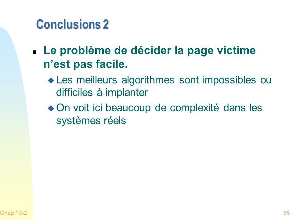 Conclusions 2 Le problème de décider la page victime n'est pas facile.