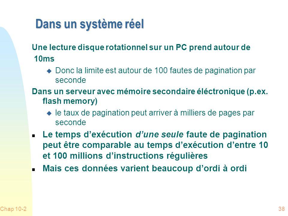 Dans un système réel Une lecture disque rotationnel sur un PC prend autour de. 10ms.