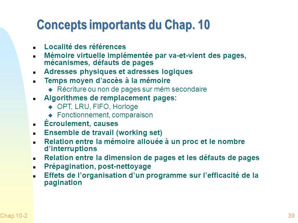 Concepts importants du Chap. 10