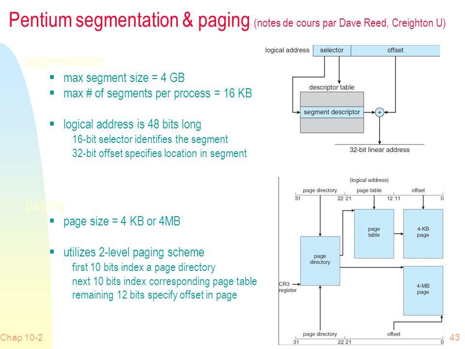 Pentium segmentation & paging (notes de cours par Dave Reed, Creighton U)