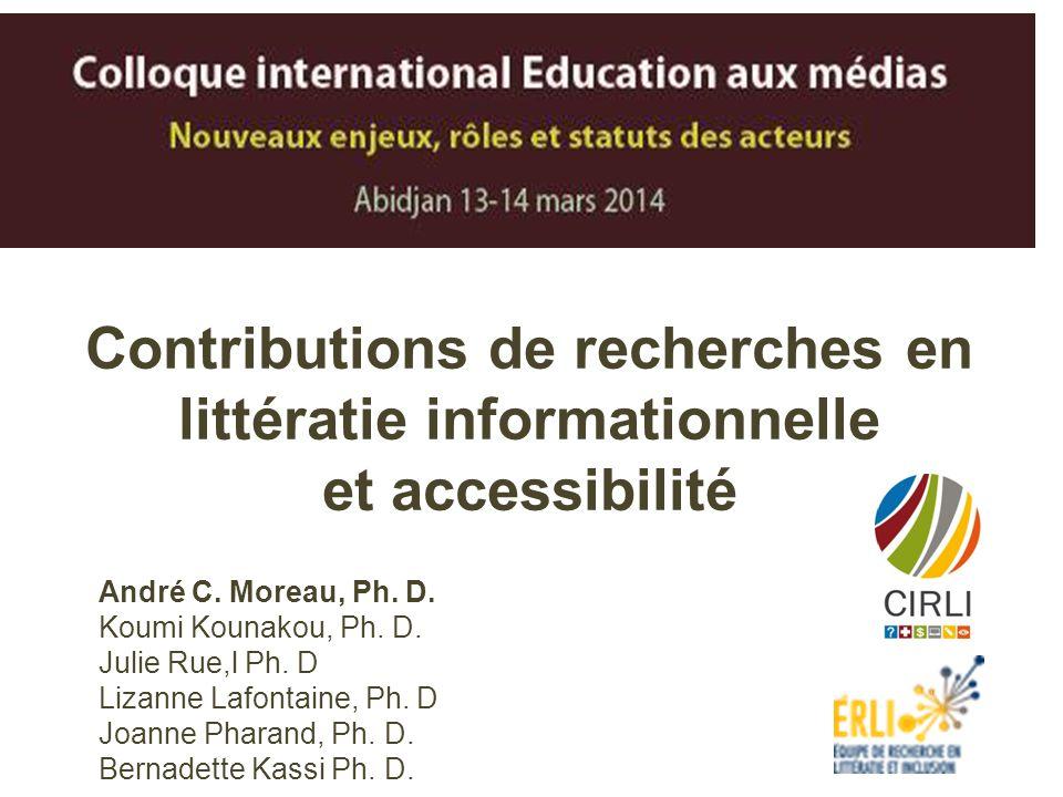 Contributions de recherches en littératie informationnelle et accessibilité