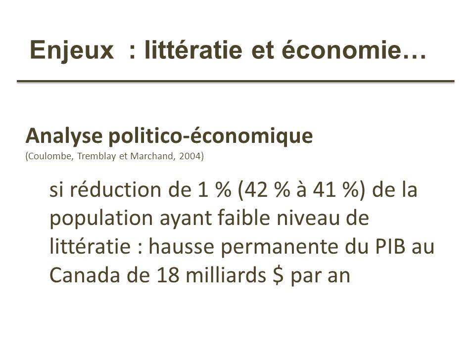 Enjeux : littératie et économie…