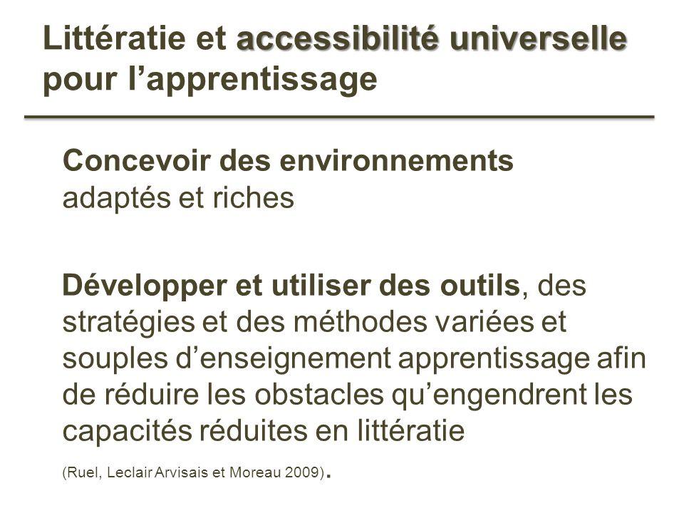 Littératie et accessibilité universelle pour l'apprentissage