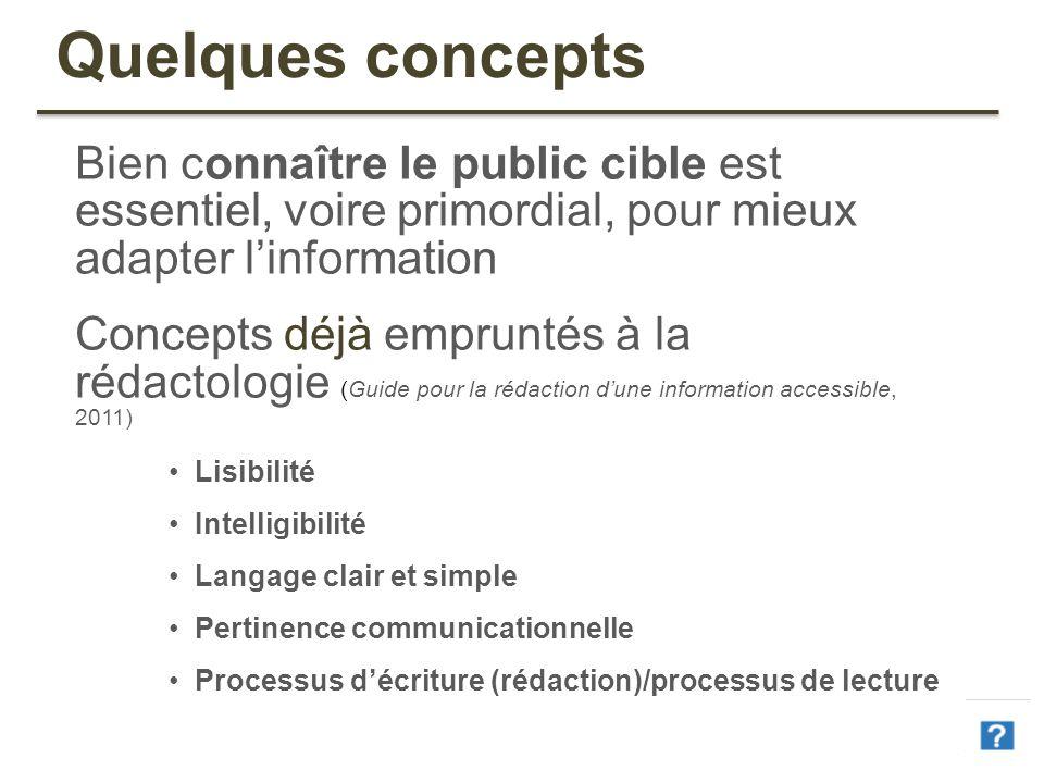 Quelques concepts Bien connaître le public cible est essentiel, voire primordial, pour mieux adapter l'information.