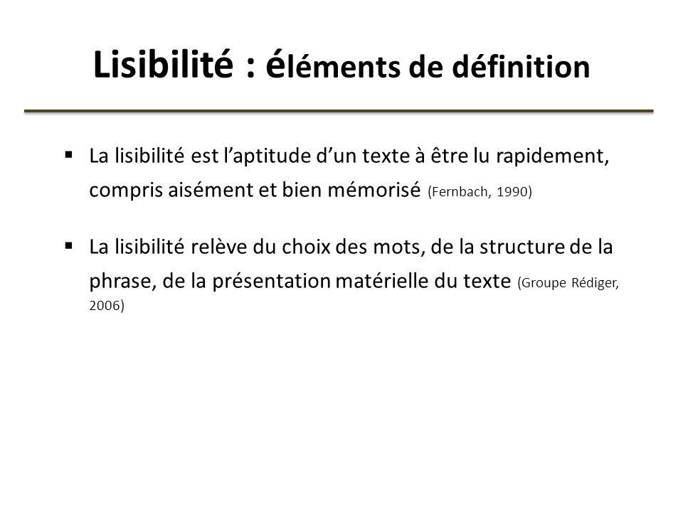 Lisibilité : éléments de définition