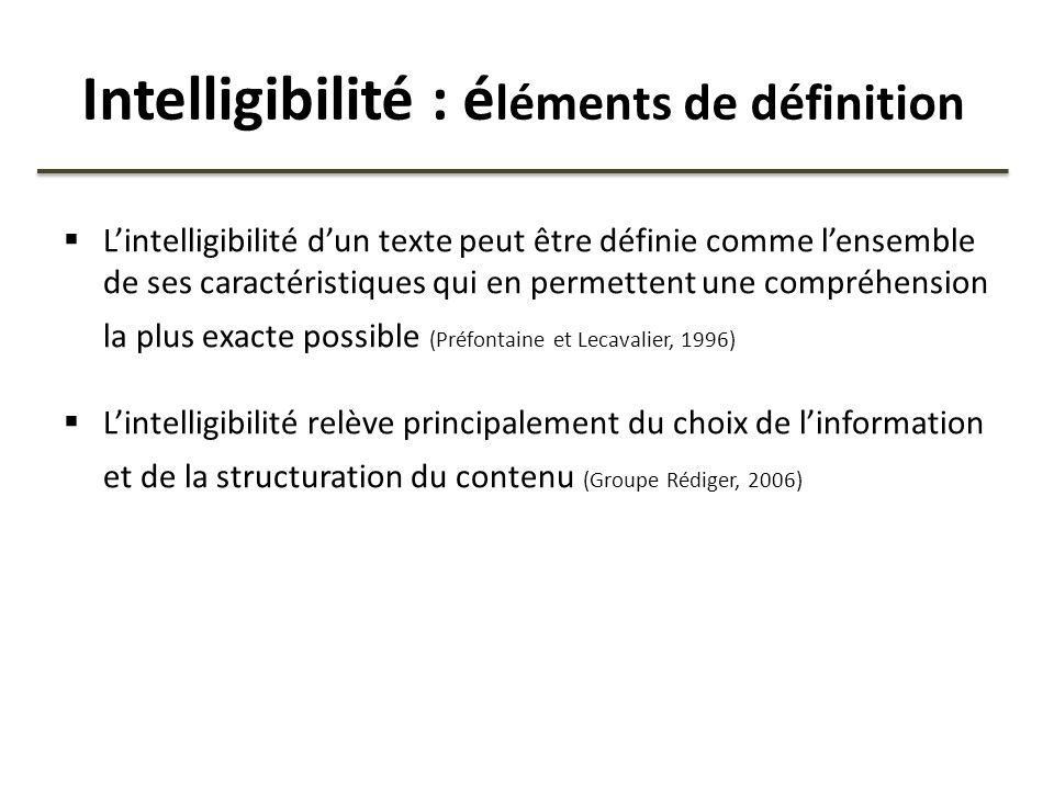 Intelligibilité : éléments de définition
