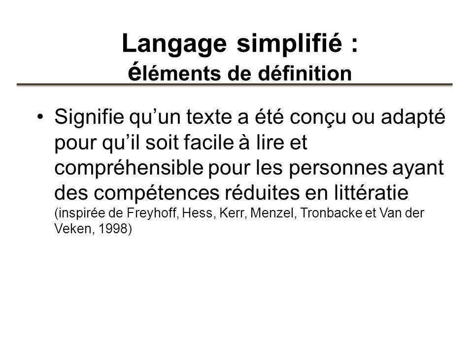 Langage simplifié : éléments de définition